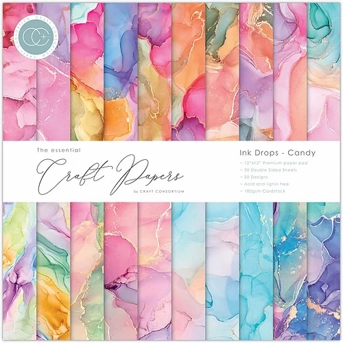 Craft Consortium, Paperpad, Ink Drops, Candy - 12x12 inch