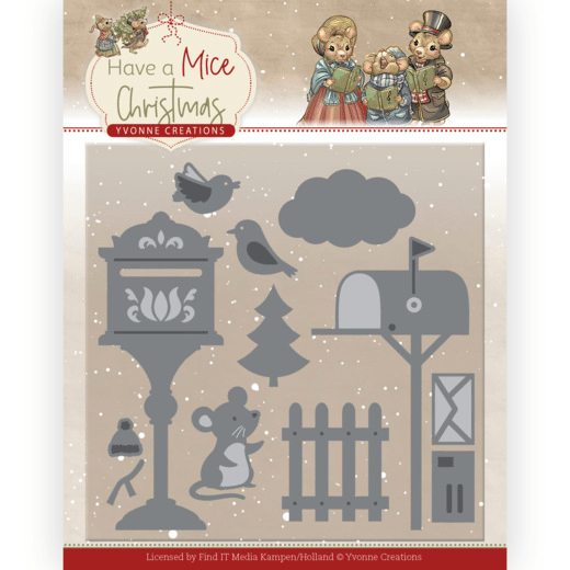 Yvonne Creations, Snijmal, Have a Mice Christmas, Christmas Mouse Letters - YCD10251