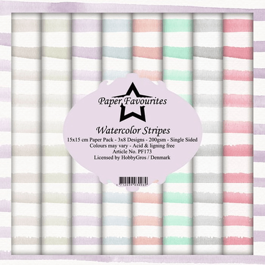 Paper Favourites, Paperpad, Watercolor Stripes , 6x6 inch - PF173