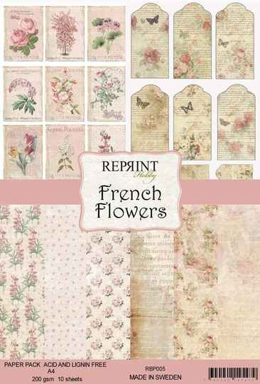 Reprint, Paperpad, French Flowers Collection, A4 formaat - RPB005