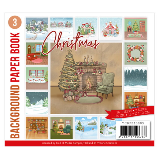 Yvonne Creations, Paperpad, Background Paper Book 3 , Christmas - YCBPB10003