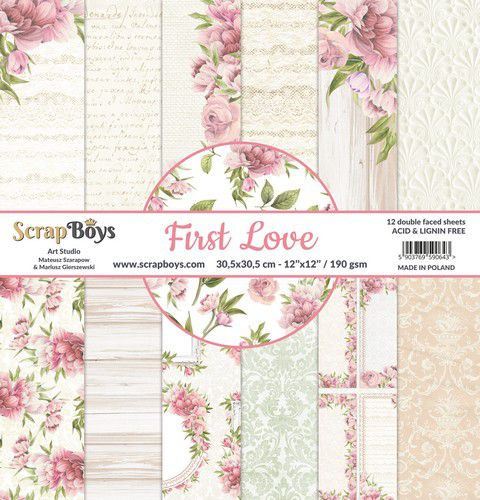 Scrapboys, Paperpad, First Love, 30,5 x 30,5 cm