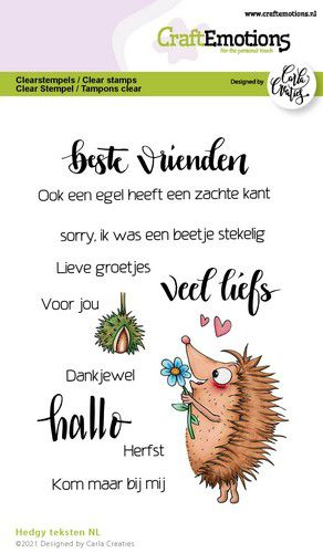 CraftEmotions, Clear Stamp, Carla Creaties,  Hedgy teksten (NL)- 130501/1519