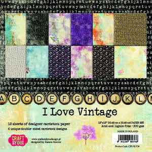 Craft & You, Paperpad, I Love Vintage, 12x12 inch - CPS-ILV30