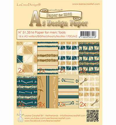Leane Creatief, Paperpad, Paper for men: Tools - 51.3516