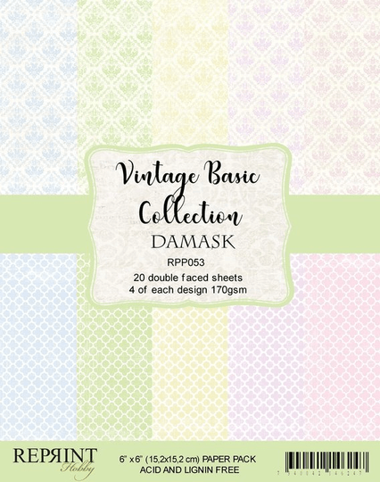 Reprint, Paperpad, Vintage Basic Collection Damask , 6x6 inch - RPP053