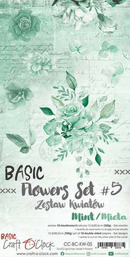 Craft o Clock, Paperpad, Basic Flowers Set 5, Mint, Extra's to Cut, 15,5 x 30,5 cm