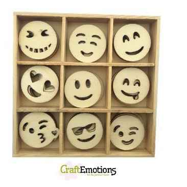 CraftEmotions, Houten Ornament, Emoticons - 811500/0223