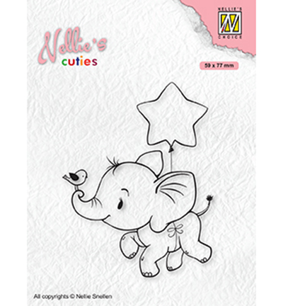 Nellie Snellen, Clear Stamp, Christmas Elephant with Star - NCCS011
