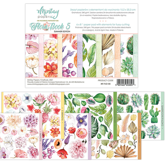 Mintay, Elements for precise cutting, Flora Book 5 , 6x8 inch - MT-FLO-05