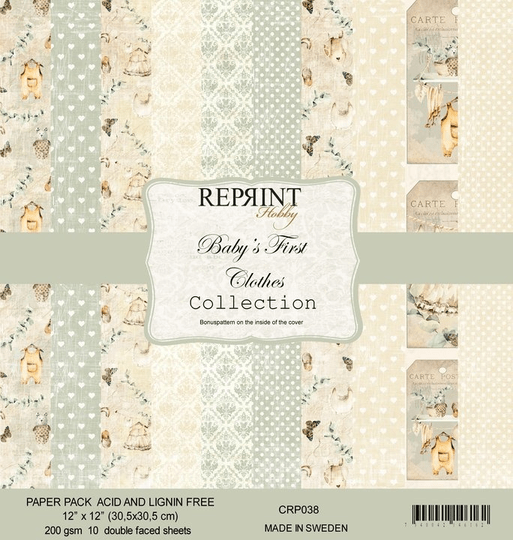 Reprint, Paperpad, Baby's First Clothes Collection , 12x12 inch - CRP038