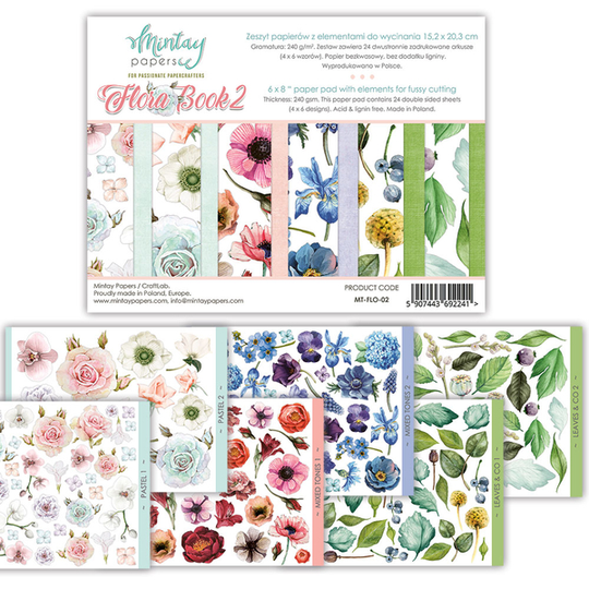 Mintay, Elements for precise cutting, Flora Book 2 , 6x8 inch - MT-FLO-02