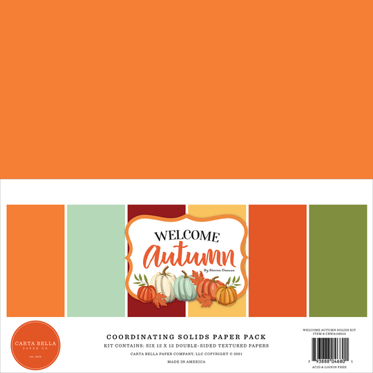 Carta Bella, Paperpad, Coordinating Solids, Welcome Autumn, 12x12 inch - CBWA138015