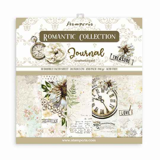 Stamperia, Paperpad, Romantic Journal , 8x8 inch - SBBS34