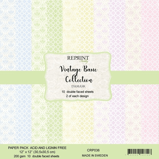 Reprint, Paperpad, Vintage Basic Collection Damask , 12x12 inch - CRP036