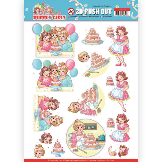 Yvonne Creations , 3D Push Out, Bubbly Girls, Party - SB10440