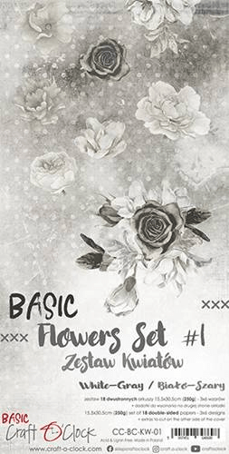 Craft o Clock, Paperpad, Basic Flowers Set 1, White-Grey , Extra's to Cut, 15,5 x 30,5 cm