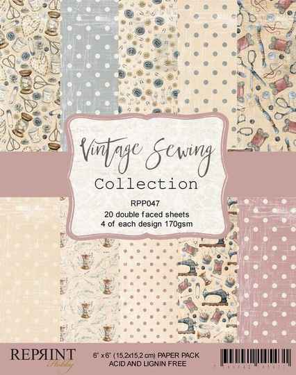 Reprint, Paperpad, Vintage Sewing Collection, 6x6 inch - RPP047
