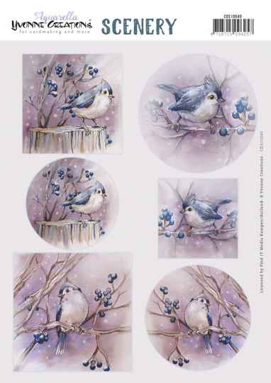 Yvonne Creations, Push Out Scenery, Aquarella, Birds - CDS10040