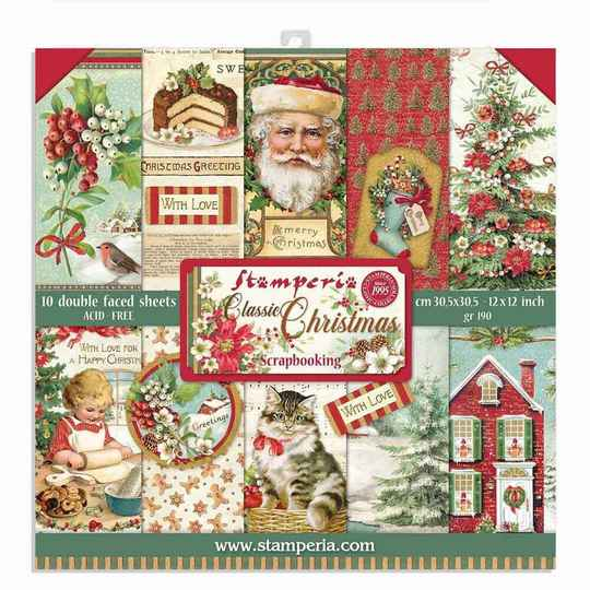 Stamperia, Paperpad, Classic Christmas , 12 x 12  inch - SBBL74