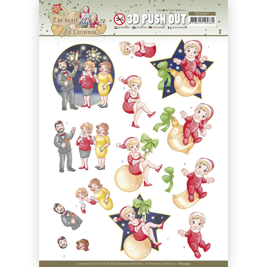 Yvonne Creations , 3D Push Out, The Heart of Christmas, Fireworks - SB10597