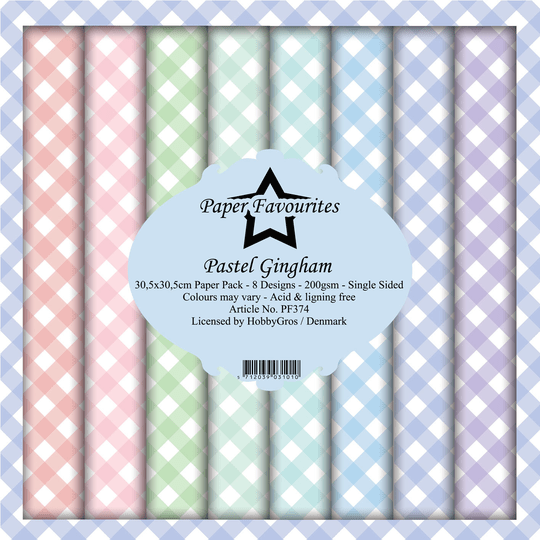 Paper Favourites, Paperpad, Pastel Gingham  , 12x12 inch - PF374