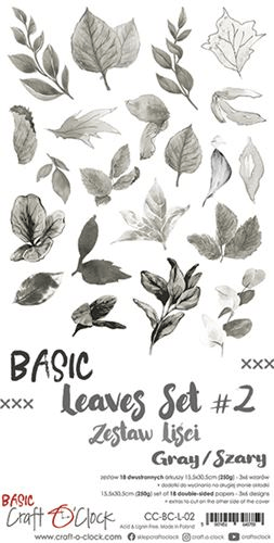 Craft o Clock, Paperpad, Basic Leaves Set 2, Gray , Extra's to Cut, 15,5 x 30,5 cm