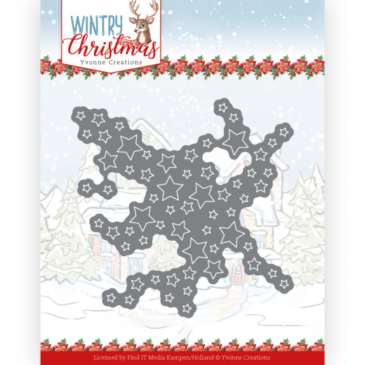 Yvonne Creations, Snijmal, Wintry Christmas, Cut Out Stars - YCD10243