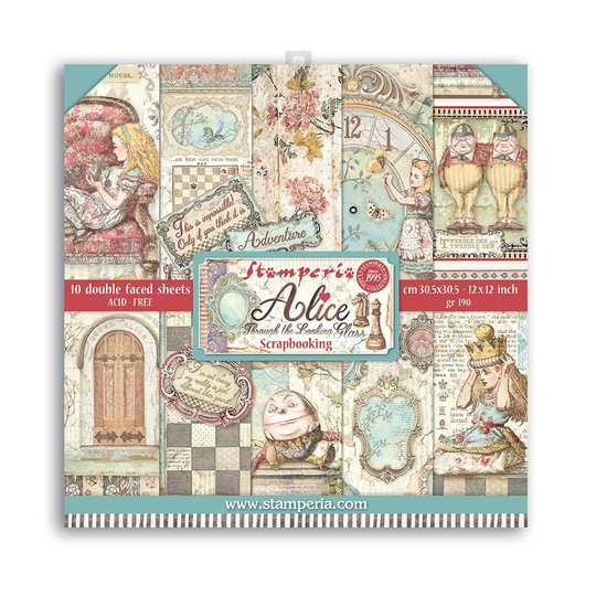 Stamperia, Paperpad, Alice Through the Looking Glass , 12x12 inch - SBBL93