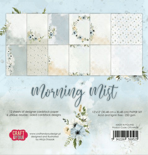 Craft & You , Paperpad, Morning Mist, 12 x 12 inch - CPS-MM30
