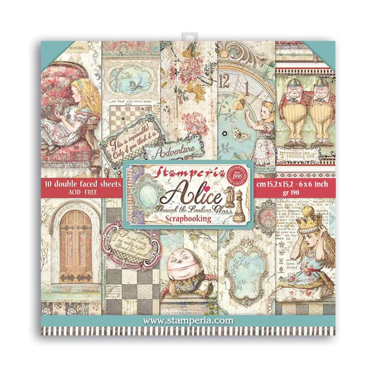 Stamperia, Paperpad, Alice Through the Looking Glass , 6x6 inch - SBBXS02