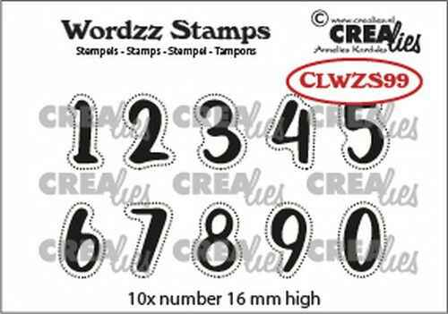 Crealies, Clearstamp, Wordzz, Cijfers  - CLWZS99