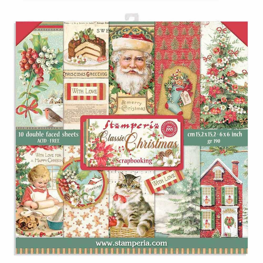 Stamperia, Paperpad, Classic Christmas, 6x6 inch - SBBXS06