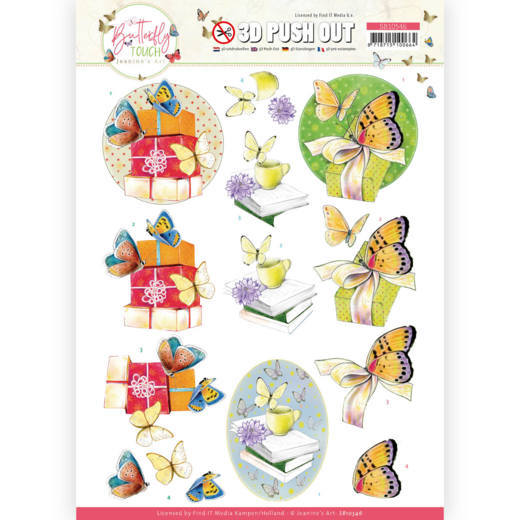 Jeanine's Art, 3D Push Out, Butterfly Touch, Yellow Butterfly - SB10546