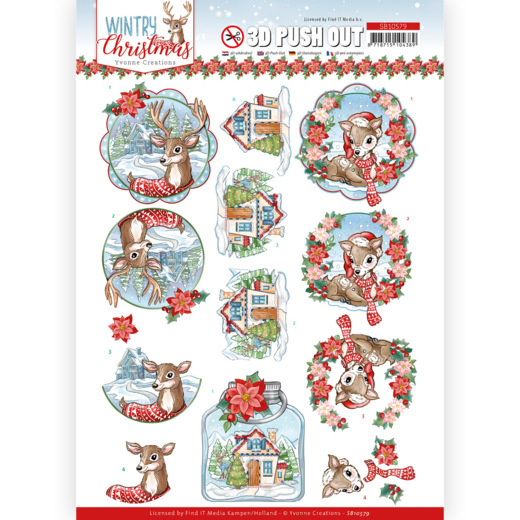 Yvonne Creations, 3D Push Out, Wintry Christmas, Christmas Deer- SB10579