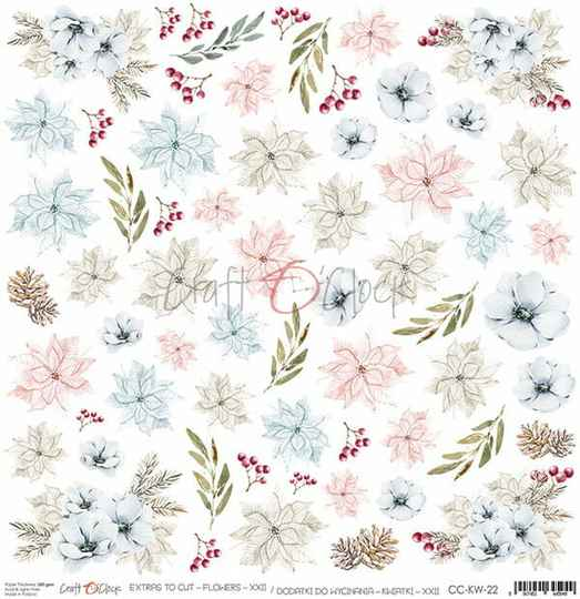 Craft O Clock, Scrapbookvel, Flowers Nr. 22, A sheet of extra's to cut