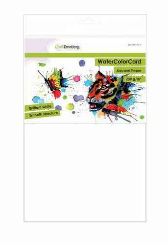 CraftEmotions, WaterColorCard, Smooth, Briljant Wit, A4, 200 grams - 001286/3321