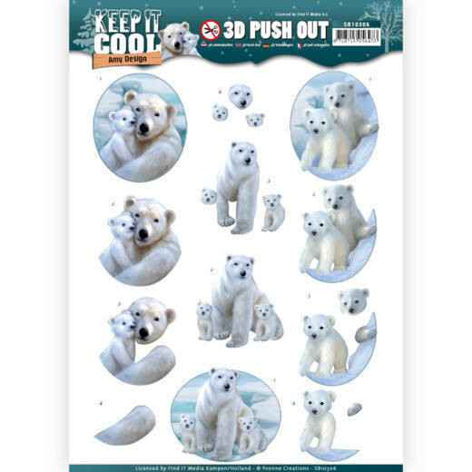 Yvonne Creations , 3D Push Out, Keep it Cool, Polar Bears - SB10306