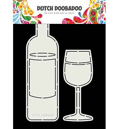 Dutch Doobadoo, Card Art, Wine Bottle and Glass - 470.713.831