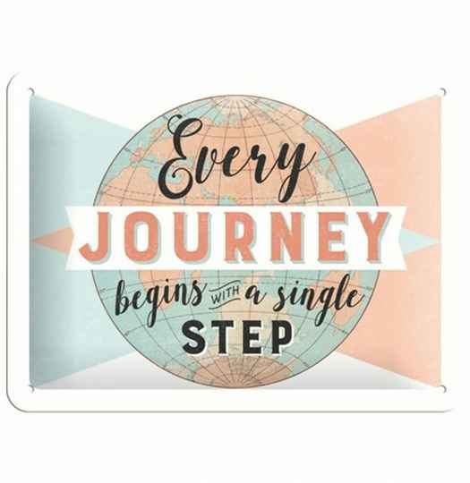 Every Journey Begins With A Single Step Metalen Bord