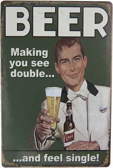 Mancave Toys vintage sign Beer makes you see double