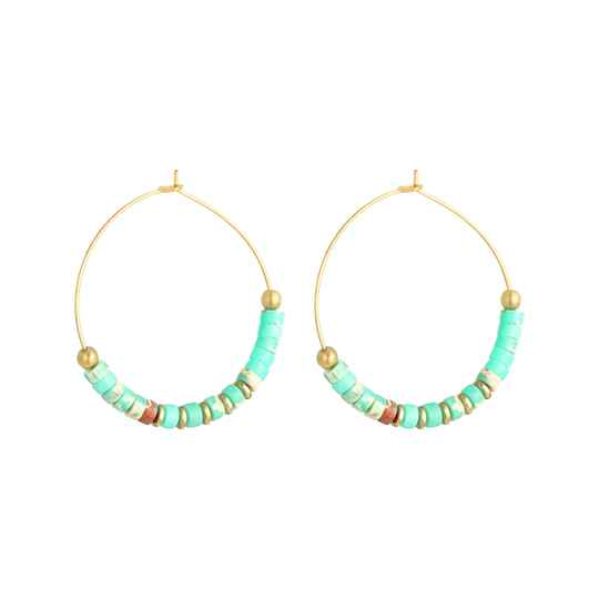Oorbellen Beaded Hoops Turquoise