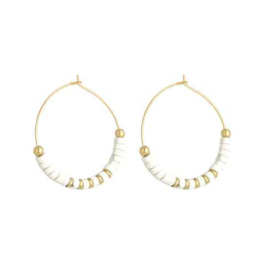 Oorbellen Beaded Hoops White