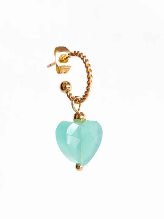 Oorbel Candy Turquoise Blue Goud (ONE PIECE)