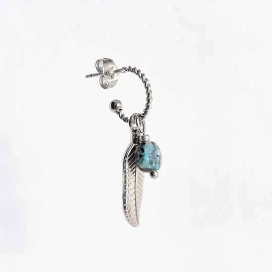 Oorbel Feather Stone Zilver (ONE PIECE)