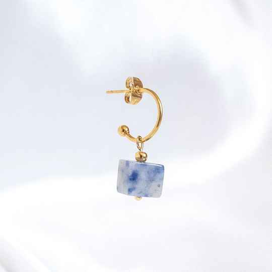 Oorbel Cube Marble Blue (ONE PIECE)