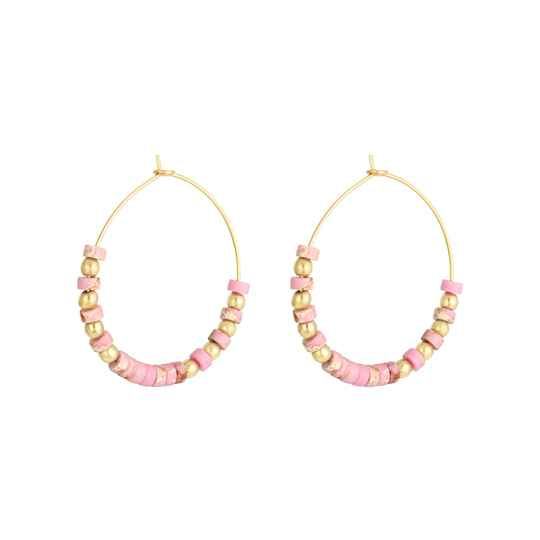 Oorbellen Beaded Hoops Pink