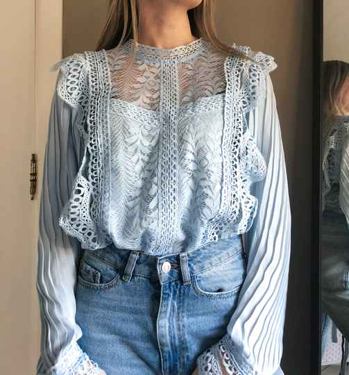 Blue broderie blouse