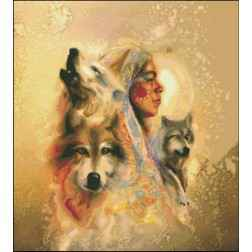 Wolves and Indian girl