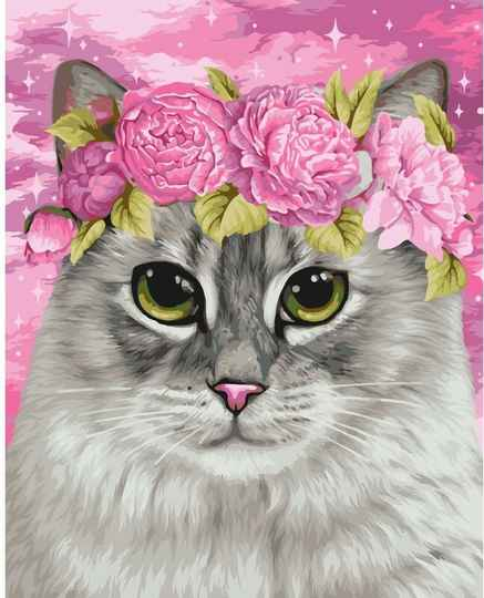 Cat and peonies